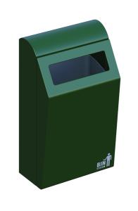 Abfallbehälter -BINsystem- aus Stahl, 50 oder 60 Liter, feuerfest (Volumen/Höhe/Farbe:  <b>50 Liter</b>/744 mm/grün (Art.Nr.: 35830))