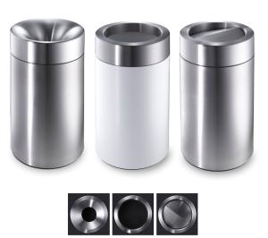 Abfallbehälter -CREW- Volumen 66 oder 76 Liter, mobil, wahlweise weiß beschichtet