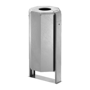 Abfallbehälter -City 1000- 90 Liter aus Stahl, mit Deckel und Dreikantverschluss, verschiedene Befestigungen