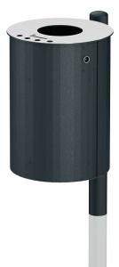 Abfallbehälter -City 1100- 40 Liter aus Stahl, mit Ascher, zum Einbetonieren oder Mastbefestigung