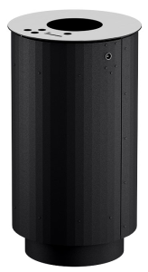 Abfallbehälter -City 1200- 90 Liter aus Stahl, mit Ascher, zum Aufschrauben (Farbe: ohne Farbe (Art.Nr.: 37480))