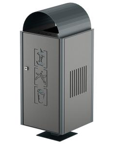 Abfallbehälter -City 250- 90 Liter aus Stahl, mit Ascher
