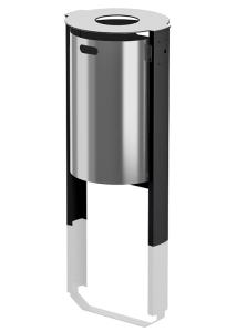 Abfallbehälter -City 450- 65 Liter aus Aluminium, wahlweise mit Ascher