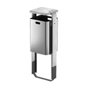 Abfallbehälter -City 800- 60 Liter aus Aluminium, mit Ascher o. Abdeckung