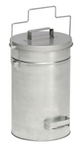 Abfallbehälter -Cubo Alano- 25 Liter aus Stahl, mit Gleitdeckel und Tragegriff, verschiedene Farben (Beschichtung: ohne Farbe (Art.Nr.: 16000))