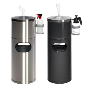 Abfallbehälter -Cubo Desiderio- 32 Liter, mit Tuchspender und Flaschenhalter (Material: Stahl, verzinkt und schwarzgrau beschichtet (Art.Nr.: 36000))