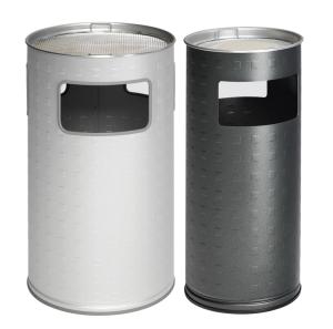 Abfallbehälter -Cubo Tito-  17, 37 oder 69 Liter aus Aluminium (eloxiert), mit Ascher (Volumen/Farbe/ØxHöhe: 16,7 Liter/ <b>ohne Farbe</b><br>230x660mm (Art.Nr.: 15890))