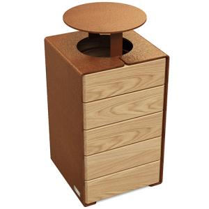 Abfallbehälter -Kube- 100 Liter, aus Stahl mit Holz-Dekor, wahlweise mit Dach