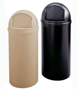 Abfallbehälter -Marshal- Rubbermaid, 56,8 oder 94,6 Liter, aus PE (Volumen/Maße(ØxHöhe)/Farbe: 56,8 Liter / 391 x 927 mm / schwarz (Art.Nr.: 12297))