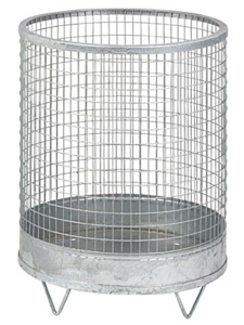 Abfallbehälter -Nr. 5- 63 Liter aus Drahtgitter mit Stahlblechboden (Farbe: verzinkt ohne Farbe (Art.Nr.: 19327))