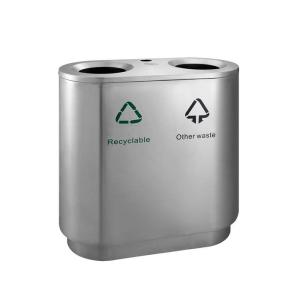 Abfallbehälter -P-Bins 121- 82 Liter aus Edelstahl, ideal zur Abfalltrennung, mit Ascher (Ausführung: Abfallbehälter -P-Bins 121- 82 Liter aus Edelstahl, ideal zur Abfalltrennung, mit Ascher (Art.Nr.: 39234))