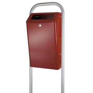 Abfallbehälter -P-Bins Cadiz- 50 Liter aus Aluminium (Farbe: bordeaux (Art.Nr.: 18021))