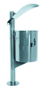 Abfallbehälter -Pro 23- 30 Liter aus Edelstahl und Eisen, mit Dach (Ausführung: Abfallbehälter -Pro 23- 30 Liter aus Edelstahl und Eisen, mit Dach (Art.Nr.: 35685))