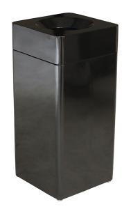Abfallbehälter -Pro 25- 30 bis 40 Liter, aus Stahl, selbstlöschend (Form/Farbe:  <b>Quadratisch (40 Liter)</b><br>schwarz (Art.Nr.: 36627))