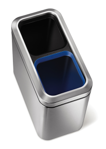 Abfallbehälter -Slim Open Recycler- Simplehuman, 2 x 10 Liter aus Edelstahl (Ausführung: Abfallbehälter -Slim Open Recycler- Simplehuman, 2 x 10 Liter aus Edelstahl (Art.Nr.: 37527))