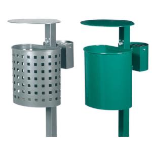 Abfallbehälter -State Vermont-, abnehmbar, mit Dach und Ascher, 20 Liter, zum Einbetonieren
