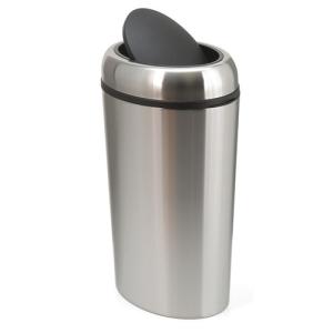 Abfallbehälter -Swing Oval- 40 Liter aus Edelstahl, mit Schwingdeckel (Ausführung: Abfallbehälter -Swing Oval- 40 Liter aus Edelstahl, mit Schwingdeckel (Art.Nr.: 16260))