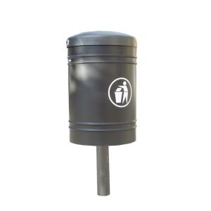 Abfallbehälter -Throw- 40 Liter aus Stahl, wahlweise mit Pfosten-Abdeckkappe, selbstlöschend