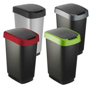 Abfallbehälter -Twist-, 25 oder 50 Liter aus Kunststoff, mit 2-Funktionen-Schwingdeckel (Volumen/Maße (HxBxT)/Farbe: 25 Liter / 476 x 252 x 333 mm<br> <b>Deckel grün / Eimer schwarz</b> (Art.Nr.: 37770))