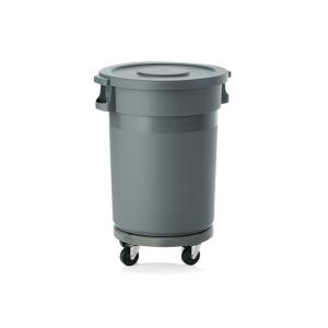 Abfallbehälter -WSA5- 80 oder 120 Liter aus PP, mit Flachdeckel, inkl. Transporttrolley (Volumen/Maße (ØxHöhe)/Transporttrolley Rollen:  <b>80 Liter</b> / 490 x 830 mm<br>4 schwenkbare Rollen (Art.Nr.: 37227))