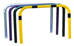 Ablehnbügel / Absperrbügel -Usedom- Ø 76 mm aus Stahl, Gesamthöhe 1500 mm, zum Einbetonieren, ohne Farbe, gelb / schwarz oder nach RAL