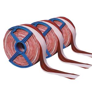 Absperrband -Fadenverstärkt-, Breite 80 mm, Länge 250 m, schwarz / gelb oder rot / weiß, VPE 5 Spulen (Farbe/Menge:  <b>rot/weiss</b> / VPE 5 Spulen à 250 m (Art.Nr.: 12963))
