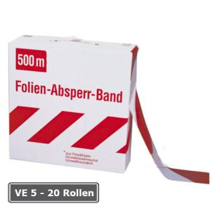 Absperrband -G&uuml;te-, VE 5 - 20 Rollen, rot / wei&szlig;, Breite 80 mm, verschiedene L&auml;ngen (L&auml;nge/Verpackungseinheit/Lieferumfang:  <b>250m</b>/VE 5 Rollen/inkl. Abrollkarton (Art.Nr.: 12956))