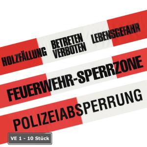 Absperrband -Reißfest-, Einzelrolle o. VE 10 Stück, rot / weiß, Breite 80 mm, Standardtexte, 500 m (Aufdruck/Verpackungseinheit: GESPERRT<br>1 Rolle à 500 m (Art.Nr.: ke1228))