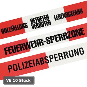 Absperrband -Reißfest-, VE 10 Rollen, rot / weiß, Breite 80 mm, mit Standardtexten 500 m (Aufdruck/Verpackungseinheit: FEUERWEHR-SPERRZONE/VE 10 Rollen (Art.Nr.: 12974))