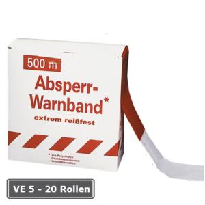 Absperrband -Rei&szlig;fest-, VE 5 - 20 Rollen, rot / wei&szlig;, Breite 80 mm, verschiedene L&auml;ngen (L&auml;nge/Verpackungseinheit/Lieferumfang:  <b>250m</b>/VE 8 Rollen/inkl. Abrollkarton (Art.Nr.: 12959))