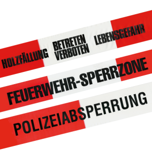 Absperrband -Reißfest-, rot / weiß, Breite 80 mm, Standardtexte, 500 m, Einzelrolle o. VPE 10 Stk. (Aufdruck/Menge: GESPERRT<br>1 Rolle à 500 m (Art.Nr.: ke1228))