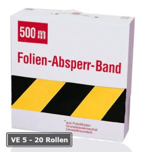 Absperrband -Rei&szlig;fest- und -Robust-, VE 5 - 20 Rollen, gelb / schwarz, Breite 80 mm, versch. L&auml;ngen (Qualit&auml;t/L&auml;nge/Verpackungseinheit/Lieferumfang:  <b>Robust 500 m</b><br>VE 5 Rollen/inkl. Abrollkarton (Art.Nr.: 17340))
