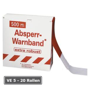 Absperrband -Robust-, VE 5 - 20 Rollen, rot / wei&szlig;, Breite 80 mm, verschiedene L&auml;ngen (L&auml;nge/Verpackungseinheit/Lieferumfang:  <b>250m</b>/VE 8 Rollen/inkl. Abrollkarton (Art.Nr.: 12954))