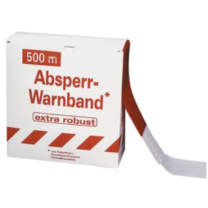 Absperrband -Robust-, rot / weiß, Breite 80 mm, verschiedene Längen, VPE 5 - 20 Rollen (Länge/Menge/Lieferumfang:  <b>100m</b><br>VPE 20 Rollen à 100m / ohne Abrollkarton (Art.Nr.: 12962))