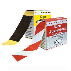 Absperrband -Strong-, reißfest, Länge 500 m, gelb / schwarz o. rot / weiß, Einzelrolle o. VPE 10 Stk. (Farbe/Menge: rot/weiß geblockt<br> <b>1 Rolle à 500 m</b> (Art.Nr.: ke1220))