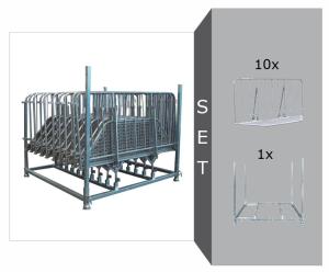 Absperrgitter Komplett-Set, inkl. 10 x -Police- (Länge 2100 mm) und Vierkantrohr-Stapelpalette (Ausführung: Absperrgitter Komplett-Set, inkl. 10 x -Police- (Länge 2100 mm) und Vierkantrohr-Stapelpalette (Art.Nr.: 28031))