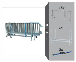 Absperrgitter Set, mit 15 Absperrgitter Typ B -Control- (L 2500 mm), Stapelpalette u. Zurrgurten (Ausführung: Absperrgitter Set, mit 15 Absperrgitter Typ B -Control- (L 2500 mm), Stapelpalette u. Zurrgurten (Art.Nr.: 28162))