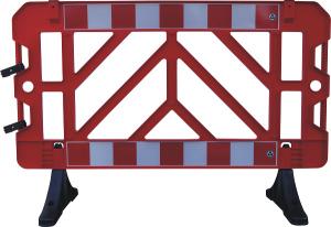 Absperrgitter aus Kunststoff, 1500 x 1000 mm, PVC-Füße mit Bohrung zum Aufdübeln, versch. Farben (Farbe: rot (Art.Nr.: 32454))