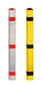 Absperrpfosten -Acero- 70x70 mm aus Aluminium, natur oder gelb / schwarz