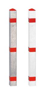 Absperrpfosten -Acero- 70x70 mm aus Aluminium, natur oder rot / weiß