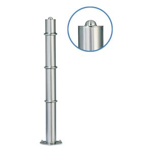 Absperrpfosten -Acero Halbhügel- (V2A) Ø 76 mm aus Edelstahl mit 3 Zierringen