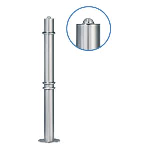 Absperrpfosten -Acero Halbhügel- (V2A) Ø 76 mm aus Edelstahl mit 3 Zierringen (Oben, 2x Mitte)