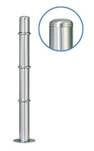 Absperrpfosten -Acero Rundkopf- (V2A) Ø 76 mm aus Edelstahl mit 3 Zierringen (Oben, Mitte, Unten)