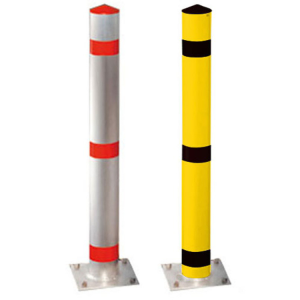 Absperrpfosten -Acero- Ø 102 mm aus Aluminium, natur oder gelb / schwarz