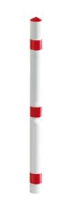 Absperrpfosten -Acero- Ø 60mm, rot / weiß aus Aluminium, optional mit Abschlusskappe o. Kettenkopf (Befestigung/Schließung: zum Einbetonieren<br>mit Abschlußkappe (Art.Nr.: 13424))