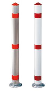 Absperrpfosten -Acero-  Ø 76 mm aus Aluminium, natur oder rot / weiß