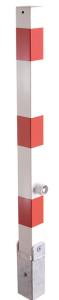 Absperrpfosten -Bollard- 70 x 70 mm, umlegbar, Hebe- und Kippmechanik, Dreikantverschluss (Farbe: ohne Farbe (Art.Nr.: 470fukh))