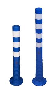 Absperrpfosten -Elasto Blue- Ø 80 mm, überfahrbar mit retroreflektierenden Streifen (Höhe: 750 mm (Art.Nr.: 37873))