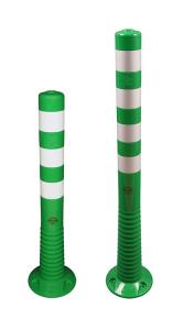 Absperrpfosten -Elasto Green- Ø 80 mm, überfahrbar mit retroreflektierenden Streifen (Höhe: 750 mm (Art.Nr.: 37875))