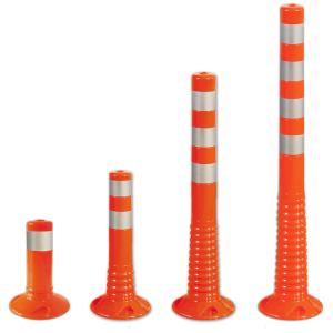 Absperrpfosten -Elasto Orange- Ø 80 mm, überfahrbar mit retroreflektierenden Streifen (Höhe: 300 mm (Art.Nr.: 12855))
